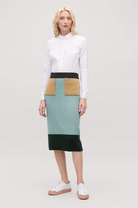 Cos COLOUR-BLOCK WOOL SKIRT
