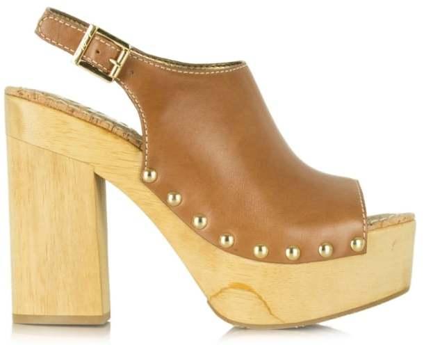 Tan Leather Platform Heels - ShopStyle Australia