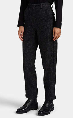 Yohji Yamamoto Regulation Women's Houndstooth-Plaid Wool-Linen Pants - Dark Gray