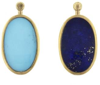 Lapis Marla Aaron Single Oval Lozenge with Turquoise and Yellow Gold