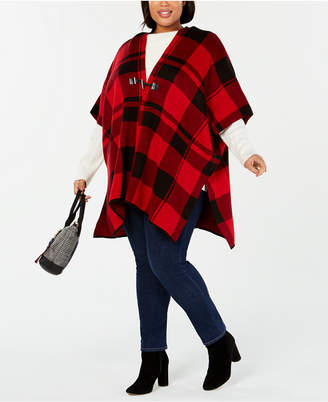 Tommy Hilfiger Plus Size Toggle-Front Poncho Sweater