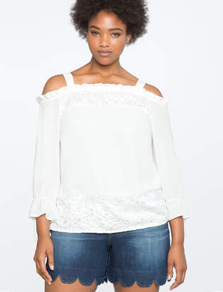 ELOQUII Lace Paneled Off the Shoulder Top