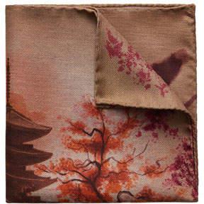 Eton Japanese Temple Wool/Silk Pocket Square