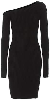 Helmut Lang Ribbed silk one-shoulder dress