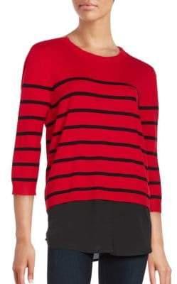 Crewneck Mock Layer Striped Sweater
