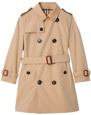 Burberry Mayfair Collared Trench Coat, Size 3-14