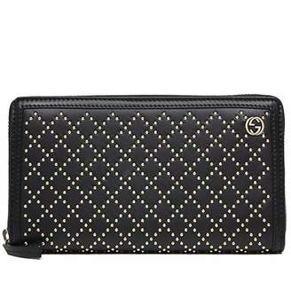 Gucci Diamante Zip Around Wallet Studded Leather Black