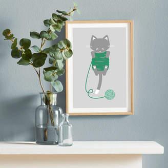 Bobbie Print Knitty Kitty Riso Printed Wall Art