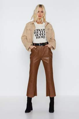 Nasty Gal Flare to Explain Faux Leather Corduroy Pants