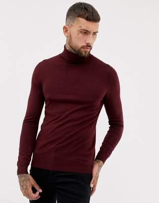 Pull&Bear roll neck sweater in burgundy