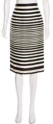 J. Mendel Striped Knee-Length Skirt
