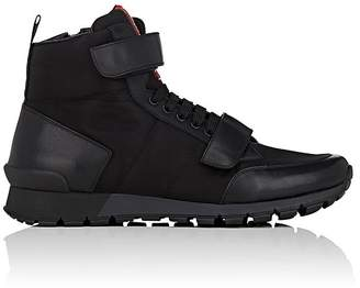 Prada Men's Double-Strap Nylon & Leather Sneakers