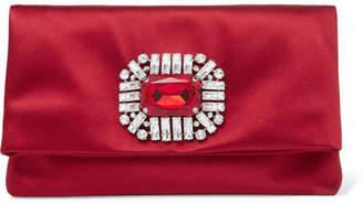 Jimmy Choo Tatiania Crystal-embellished Satin Clutch - Red