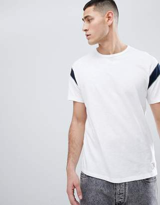 Abercrombie & Fitch Varsity Slub Crew Neck T-Shirt Contrast Sleeve Insert in White/Navy