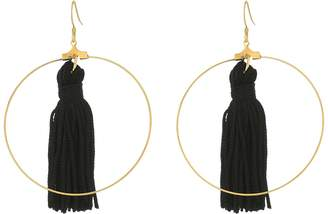 Kenneth Jay Lane Gold Hoop with Black Tassel Fishhook Earrings Earring