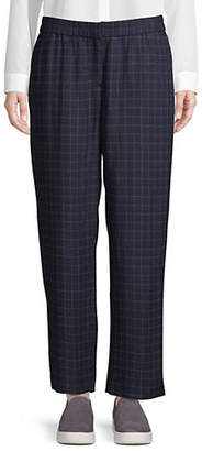 Eileen Fisher Chequered Straight-Fit Ankle Pants