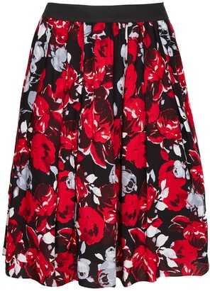 Evans **Scarlett & Jo Red Rose Print Skirt