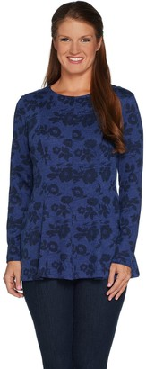 Denim & Co. Brushed Heavenly Jersey Fit and Flare Printed Tunic