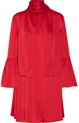 Fendi Pleated Washed-satin Mini Dress - Crimson