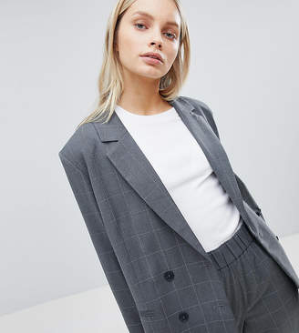 Weekday Oversized Double Breasted Check Suit Blazer