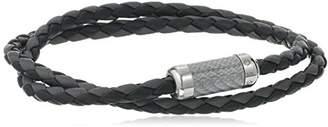 Tateossian Mens Montecarlo Carbon Leather Bracelet