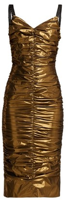 Dolce & Gabbana Ruched Lame Midi Dress - Womens - Bronze