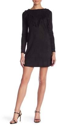 Molly Bracken Faux Suede Fringed Long Sleeve Dress
