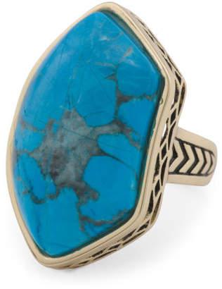 Handmade In Thailand Turquoise Howlite Bronze Ring