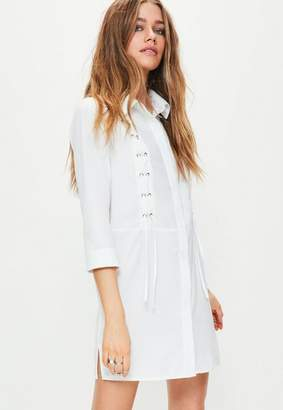 Missguided Lace Up Front Shirt Dress