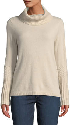 Neiman Marcus Cashmere Cowl-Neck Bell-Sleeve Sweater