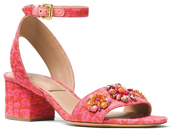 Michael Kors Collection Sam Embellished Block Heel Sandals