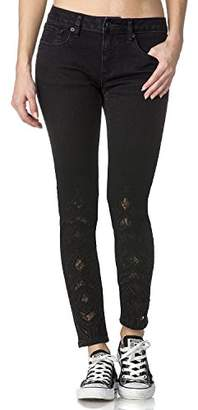 Miss Me Women's Ankle Skinny Denim Jean With Die Cut and Lace Detail
