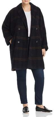 Eileen Fisher Plus Double-Breasted Plaid Coat