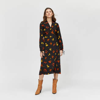 9b9432829ac2 Warehouse Sunset Floral Wrap Midi Dress