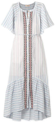 Lemlem Nefasi Embroidered Striped Cotton-blend Gauze Dress - Sky blue