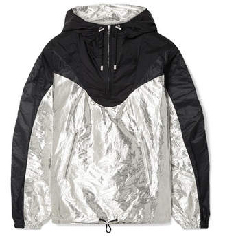 Isabel Marant Richie Hooded Two-tone Metallic Shell Jacket - Black