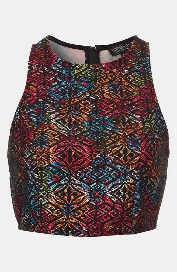 Topshop Lace & Floral Print Crop Top