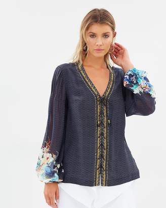 Camilla Peasant Blouse with Front Lacing