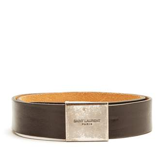 Logo-engraved leather waist belt