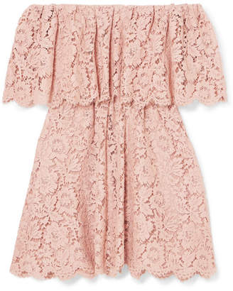 Valentino Off-the-shoulder Guipure Lace Mini Dress - Blush