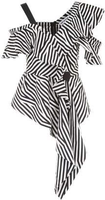 Self-Portrait Asymmetric Striped Top