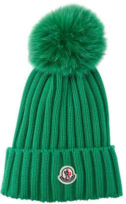bb424198c83 at Neiman Marcus · Moncler Berretto Knit Hat w  Fur Pompom