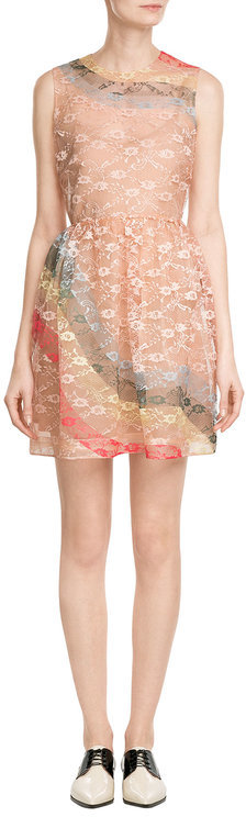 RED Valentino R.E.D. Valentino Sheath Dress with Rainbow Lace Overlay