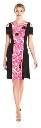Lark & Ro Amazon Brand Women's Short Sleeve Cold Shoulder Scoop-Neck Dress