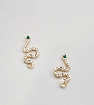 Shashi Sterling Silver 18k Gold Plated Pave Snake Ear Climbers