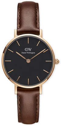 Daniel Wellington 28mm Classic Petite St Mawes Watch w/ Leather Strap, Black