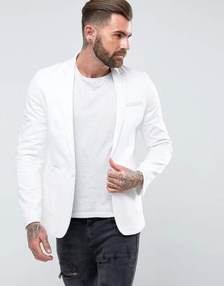 Asos Design Skinny Blazer In White Cotton
