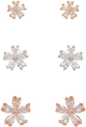 Cezanne Set Of 3 Silvertone, Goldtone, Rose Goldtone Crystal Stud Earrings