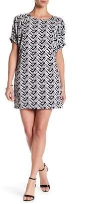 Bobeau Geo Print Raglan Sleeve Dress