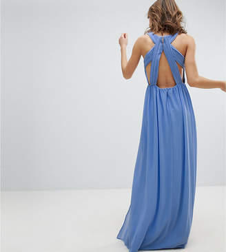 TFNC Pleated Maxi Bridesmaid Dress With Back Detail